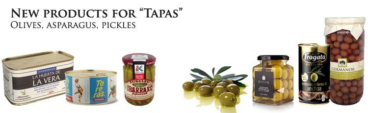 olivas esparragos aceitunas encurtidos conserva